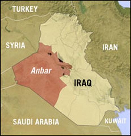 De Iraakse provincie Anbar grenst aan Syrië, Jordanië en Saudi-Arabië