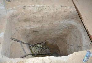 Een tunnel van terroristen die ontdekte werd in al-Maliha in Oost-Ghouta.