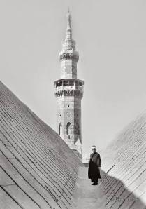 Op het dak van de Omajjadenmoskee, nabij de zuidwestelijke minaret, in Damascus in Syrië (1940-1946).