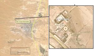 Blijkbaar viseerden terroristen het klooster van Deir Mar Yacub, aldus verwijzingen naar Moeder Agnès-Mariam en deze luchtfoto's die ze in november vorig jaar op sociale media verspreidden. -  https://twitter.com/PS_CA_ArabSpr/status/401824745340952576/photo/1