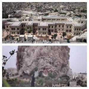 Het Carlton Hotel in Aleppo voor en na de aanslag van 8 mei 2014.