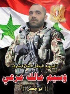 Martelaar Wasseem Malek Mura'y van de twaalfde brigade van de vijfde divisie van het Syrische nationale leger (SNL) werd gedood in Sheikh Miskeen.